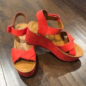 Franco Sarto Women's Orange Platform Shoes - 8.5